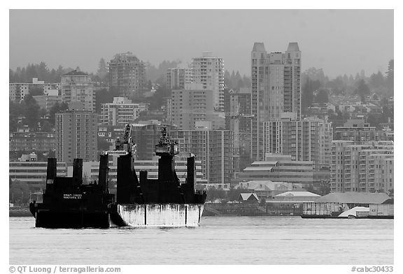 Cargo ship in harbor. Vancouver, British Columbia, Canada (black and white)