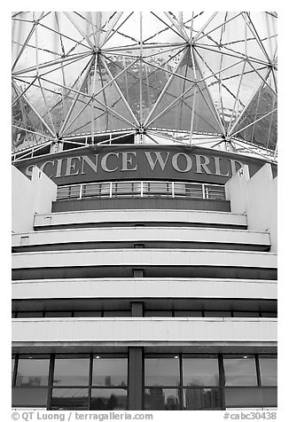 Close-up of Science world building. Vancouver, British Columbia, Canada (black and white)