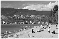 Beach, Stanley Park. Vancouver, British Columbia, Canada ( black and white)