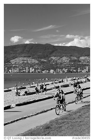 Bicyclists, Stanley Park. Vancouver, British Columbia, Canada (black and white)