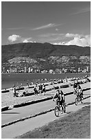 Bicyclists, Stanley Park. Vancouver, British Columbia, Canada ( black and white)
