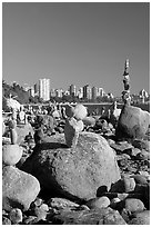 Balanced rocks and skyline, Stanley Park. Vancouver, British Columbia, Canada ( black and white)
