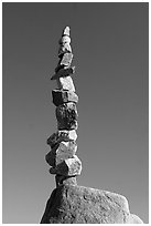 Balanced rocks against blue sky, Stanley Park. Vancouver, British Columbia, Canada ( black and white)