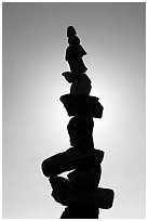 Backlit balanced rocks. Vancouver, British Columbia, Canada (black and white)