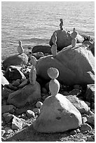 Balanced rocks. Vancouver, British Columbia, Canada ( black and white)