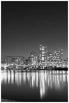 Skyline seen across False Creek at night. Vancouver, British Columbia, Canada ( black and white)