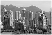 Downtown skyline and mountains. Vancouver, British Columbia, Canada (black and white)