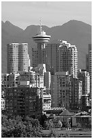 Downtown skyline and mountains. Vancouver, British Columbia, Canada ( black and white)