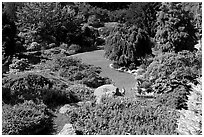 Sunken Garden in Queen Elizabeth Park. Vancouver, British Columbia, Canada (black and white)