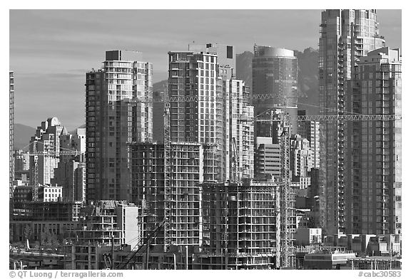 Skyline and  towers in construction. Vancouver, British Columbia, Canada (black and white)