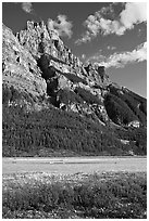 Mt Stephen and the Kicking Horse River, late afternoon. Yoho National Park, Canadian Rockies, British Columbia, Canada ( black and white)