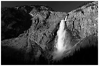 Clif and Takakkaw Falls, one the Canada's highest waterfalls. Yoho National Park, Canadian Rockies, British Columbia, Canada ( black and white)