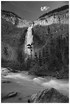Last light on Takakkaw Falls. Yoho National Park, Canadian Rockies, British Columbia, Canada (black and white)