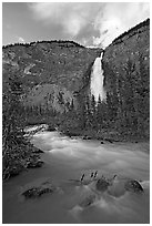 Yoho River flowing from Takakkaw Falls. Yoho National Park, Canadian Rockies, British Columbia, Canada (black and white)