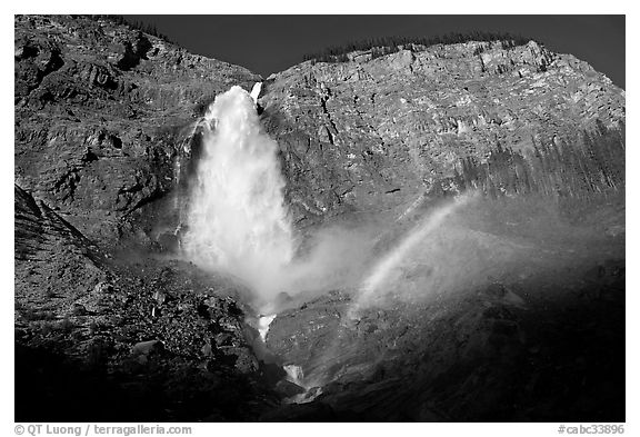 Takakkaw Falls and rainbow, late afternoon. Yoho National Park, Canadian Rockies, British Columbia, Canada (black and white)