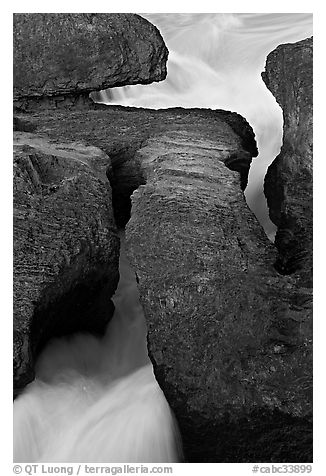 Kicking Horse River flowing through the Natural Bridge. Yoho National Park, Canadian Rockies, British Columbia, Canada (black and white)