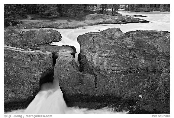River flowing through the Natural Bridge. Yoho National Park, Canadian Rockies, British Columbia, Canada (black and white)