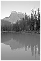 Mount Burgess reflected in Emerald Lake, sunset. Yoho National Park, Canadian Rockies, British Columbia, Canada ( black and white)