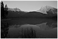 Mount Burgess and Wapta Mountain reflected in Emerald Lake, dusk. Yoho National Park, Canadian Rockies, British Columbia, Canada (black and white)