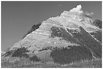 Peak near Vermillion Pass. Kootenay National Park, Canadian Rockies, British Columbia, Canada ( black and white)