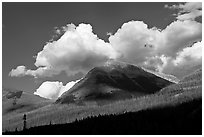 Peak, clouds, and shadows. Kootenay National Park, Canadian Rockies, British Columbia, Canada ( black and white)