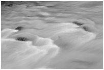Water flowing in Tokkum Creek. Kootenay National Park, Canadian Rockies, British Columbia, Canada (black and white)