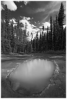 Ochre mineral pool called Paint Pot, used as a source of color by the First Nations. Kootenay National Park, Canadian Rockies, British Columbia, Canada (black and white)