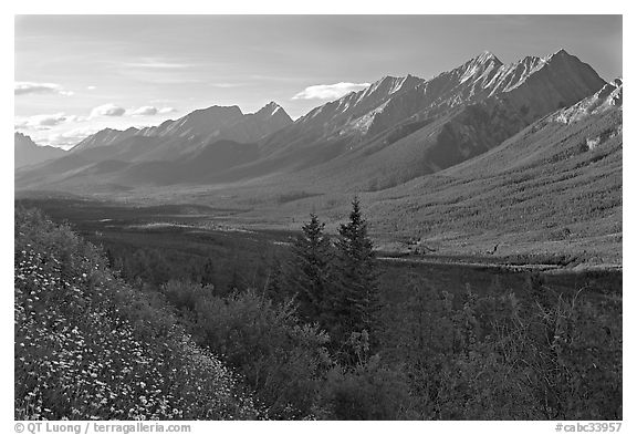 Kootenay Valley and Mitchell Range, from Kootenay Valley viewpoint, late afternoon. Kootenay National Park, Canadian Rockies, British Columbia, Canada (black and white)