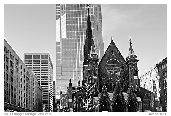 Church and modern buildings, Montreal. Quebec, Canada (black and white)