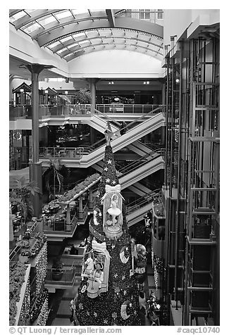 Inside one of the huge indoor shopping malls, Montreal. Quebec, Canada (black and white)