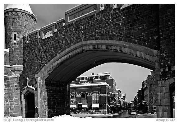 Old city gate. Quebec, Canada (black and white)