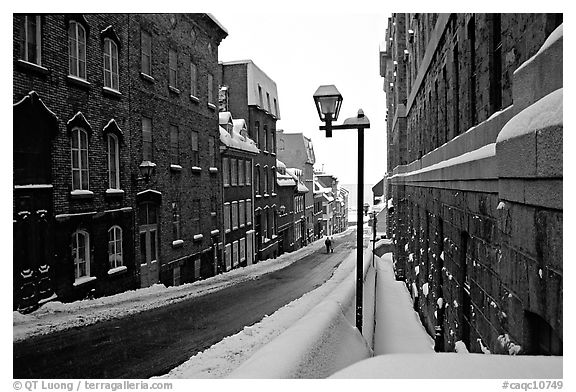 Black and white picture photo street in winter quebec city quebec canada