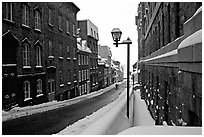 Street in winter, Quebec City. Quebec, Canada ( black and white)