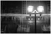 Lamp and icicles at night, Quebec City. Quebec, Canada ( black and white)
