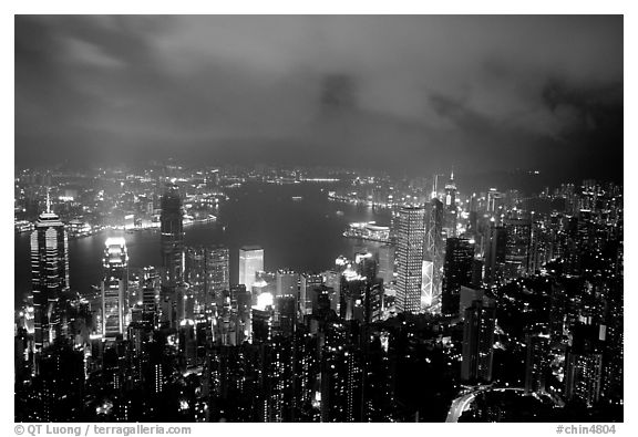 City lights from Victoria Peak by night. Hong-Kong, China (black and