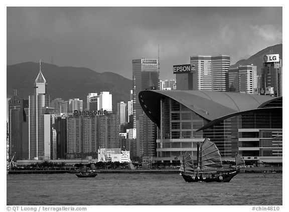 Black and white picture photo old traditional junk in the harbor hong kong china