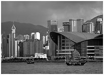 Old traditional junk in the harbor. Hong-Kong, China (black and white)