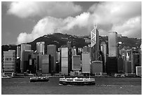 Star ferries and Hong-Kong island across the buy Hong-Kong harbor. Hong-Kong, China (black and white)