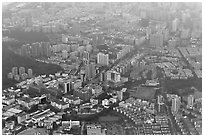 Aerial view, Shenzhen. (black and white)