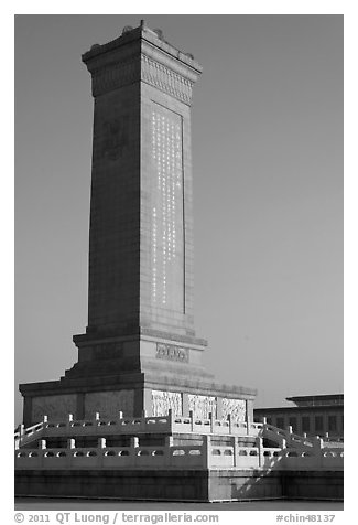 Monument to the Peoples Heroes, Tiananmen Square. Beijing, China (black and white)