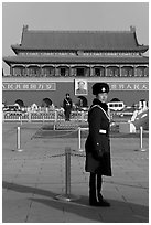 Guards and Tiananmen Gate, Tiananmen Square. Beijing, China (black and white)