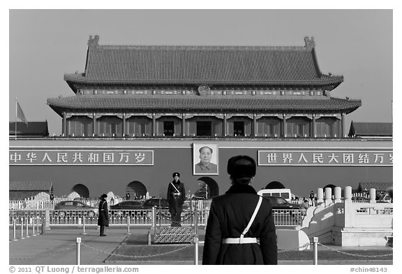 Tian'anmen Gate and guards, Tiananmen Square. Beijing, China (black and white)