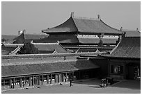 Hall of bronzes, imperial palace, Forbidden City. Beijing, China (black and white)