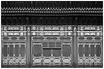 Facade detail in the back of the Hall of Preserving Harmony, Forbidden City. Beijing, China (black and white)