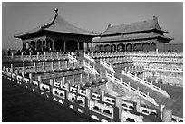 Hall of Middle Harmony and Hall of Preserving Harmony, Forbidden City. Beijing, China (black and white)
