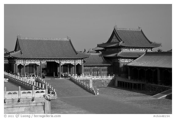 Corner Pavilion and gate, Front Court, Forbidden City. Beijing, China (black and white)