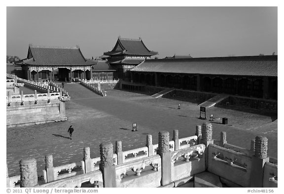 Outer Court, imperial palace, Forbidden City. Beijing, China (black and white)