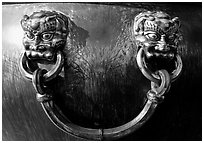 Urn handle, Forbidden City. Beijing, China (black and white)