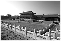 Hongyi Pavilion and inner court, Forbidden City. Beijing, China ( black and white)