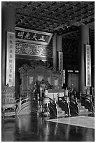 Throne inside Palace of Heavenly Purity, Forbidden City. Beijing, China (black and white)